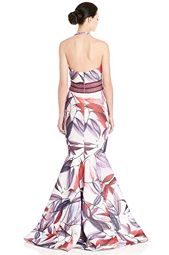 Badgley Mischka Floral Macrame Halter Silk Evening Gown Dress Ivory Multi