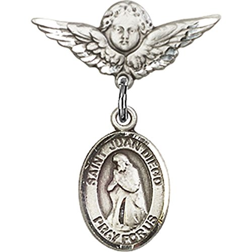 Sterling Silver Baby Badge with St. Juan Diego Charm and Angel w/Wings Badge Pin 7/8 X 3/4 inches by Unknown (Image #1)