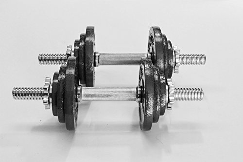 Omnie 45 LBS Adjustable Dumbbells with Gloss Finish and Secure Fit Collars (Pair)