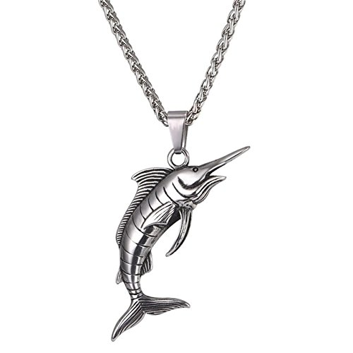 Collezioni & Co Fathers Day Dad Stainless Steel 316L Fishing Sailfish Marlin Fish Silver Pendant Chain ()