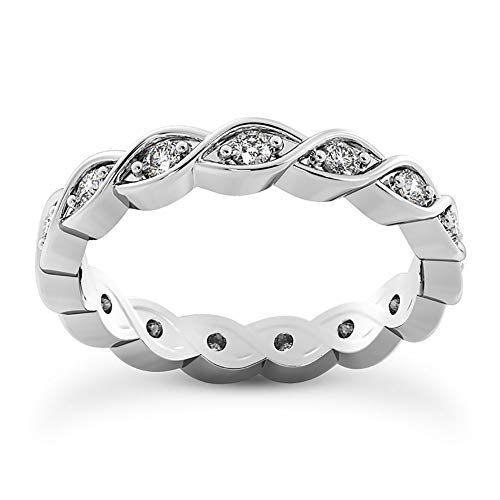 1.46 ct Round Cut Diamond Eternity Wedding Band Ring (Color G Clarity SI-1) in Platinum In Size 6.5
