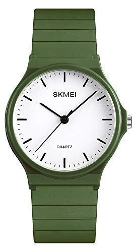 Simple Design Analog Watch with ArmyGreen Resin Band for Men/Women Student ()