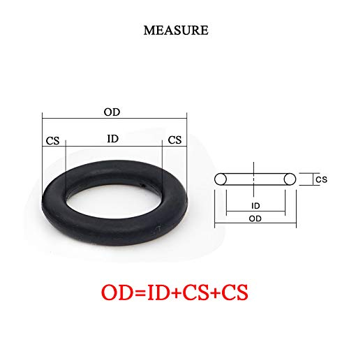 Thickness: 0.5mm, Inner Diameter: 2.4mm Ochoos NBR ID 0.5 0.6 0.7 0.8 1 1.5 1.8 2 2.3 2.4mm x CS 0.5mm Rubber Ring Gasket Seal Washer Seals Kit O Ring 10pcs
