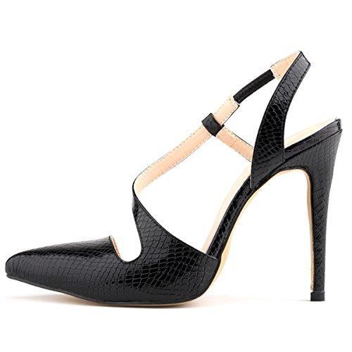 HooH Femmes Motif Alligator Bonbons Couleur Sandales Noir F0dX1ys