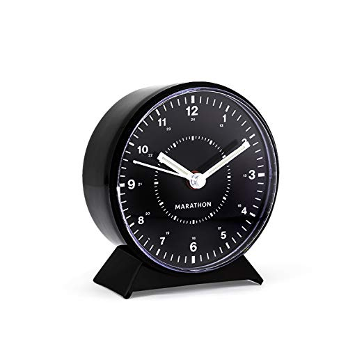 Marathon CL034001BK Mechanical Wind-Up Alarm Clock (Black) (Renewed)