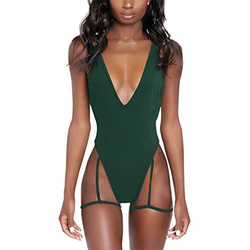 NE Norboe Deep V Neck Sexy Garter Belt Bikinis for Women 2019 Spaghetti Straps Cross On Back One Piece Swimsuits (Dark Green, l)