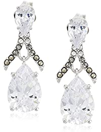 sterling silver and swarovski marcasite post drop earrings