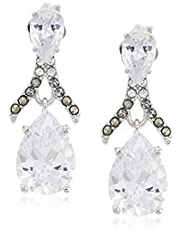 judith jack sterling silver and swarovski marcasite post drop earrings