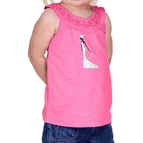 Cute Rascals Bride White Wedding Dress 1 Infant Girl Cotton/Polyester Ruffle Tank Yoke Tee - Hot Pink, 12 Months