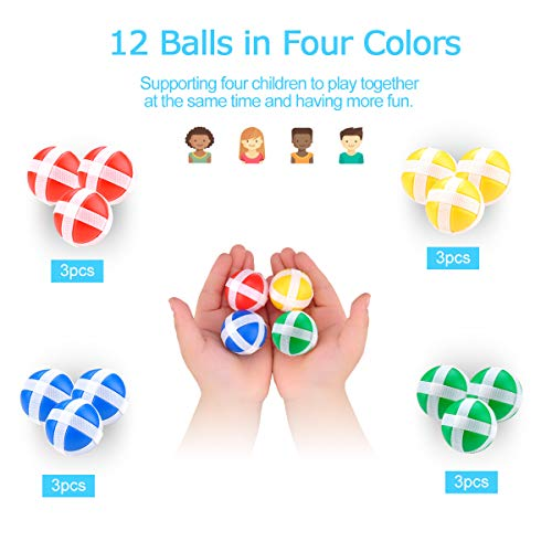 Fabric Dart Board Game Set for Kids and Adult Fashion Pattern with 12 Hook and Loop Sticky Balls Family Fun Best Toy Gift for Boys and Girls Indoor Outdoor Classic Games Diameter 14.2 Inches