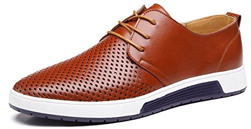 Casual Shoes Men Flat (Sanyge Men's Urban Leather Oxfords Shoes Lace Up Classic Flats(Sanyge2808Hole-Brown47))