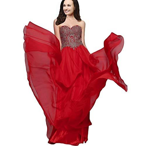 - A Font Chiffon Crystal Gold lace Long Formal Prom Dress Evening Dress,14,WineRed