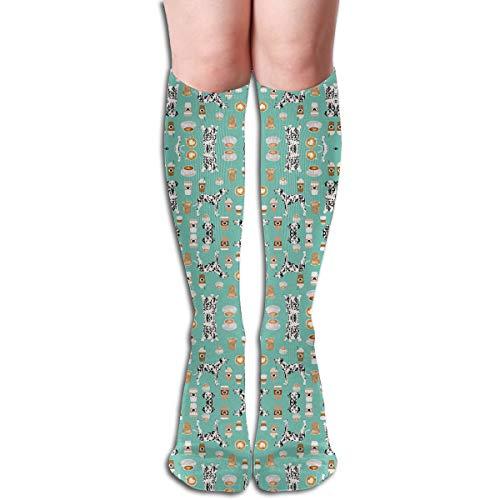 YangAme Dalmatians Cute Mint Coffee 50 Full Comfort Knee High Socks Cotton Long Knee High Socks