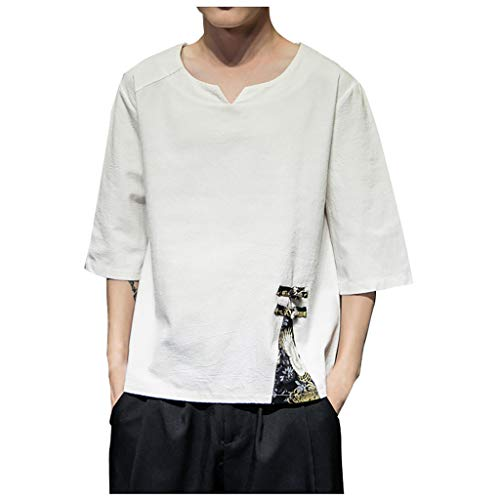 Outique Mens Shirts,Linen Cotton Casual Short Sleeve Loose Fit Fishing Shirt T Blouse Tops Solid Color Crew Neck White