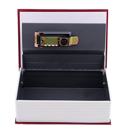 Homyl Caja Fuerte Portátil Mini Libro con Bloqueo de Contraseña Sostenedor de Monedas Ornamento de Estanterías - rojo
