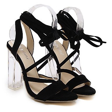 LvYuan Mujer Sandalias Vellón Verano Con Cordón Tacón Robusto Negro 10 - 12 cms Black