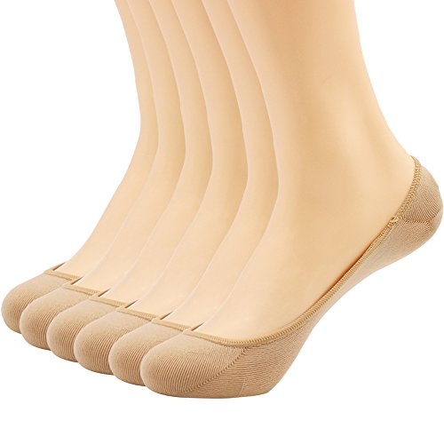 Hippih Women's No Show Liner Socks 6 Pairs Thin Low Cut Casual Socks Non Slip(Beige)