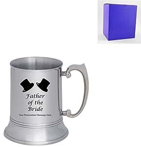 Grabado Láser personalizado 1 pinta de acero inoxidable jarra de Padre de la novia - diseño de caja de regalo incluye