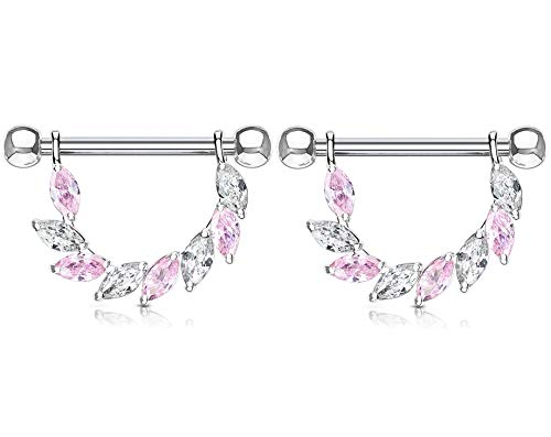 (Pierced Owl Marquise CZ Crystal Dangling Half Circle Nipple Rings in 316L Stainless Steel, Sold as a Pair (Silver Tone/Pink))
