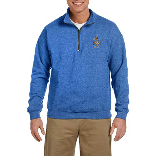 Prince Hall 3 5 7 Embroidered Masonic Men's Quarter-Zip Sweatshirt - [Royal][X-Large] -