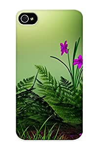 For Iphone 4/4s Premium Tpu Case Cover Flowers Grass Mushrooms Protective Case