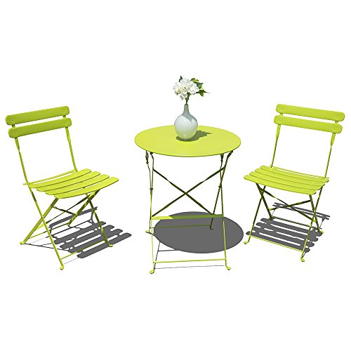 OC Orange-Casual 3-Piece Patio Bistro Set Steel Folding Dining Table and Chairs Garden Backyard Outdoor Furniture, Slatted Design - Light Green