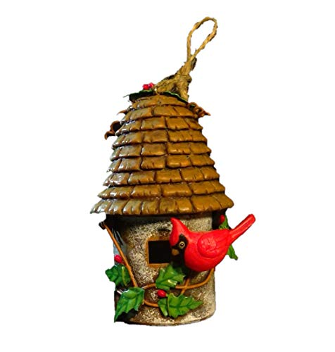 Birdhouse with Cardinal Metal and Resin Ornament 4.5in - Metal Resin Birdhouse