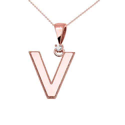 """Collier Femme Pendentif 10 Ct Or Rose Poli Élevé Milgrain Solitaire Diamant """"V"""" Initiale (Livré avec une 45cm Chaîne)"""