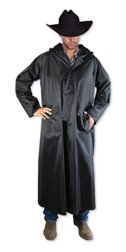 Southwestern Equine American Cowboy Saddle Slicker - Rain Coat PVC Duster Wind Waterproof Full Length Light Weight (Black, XX-Large)