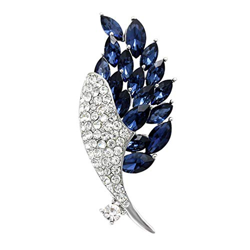 - Feather Design Crystal Rhinestones And Glass Peacock Tail Brooch Pins For Women blue