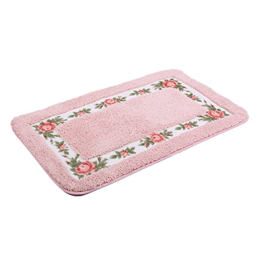 JSJ_CHENG Non Slip Soft Rectangular Microfiber Rose Floral Area Rugs for Bathroom, Girls Rooms, Kitchen, Entryway, Doormats, Stairs, Floor Indoor Outdoor (15.7inch by 23.6-inch, pink)