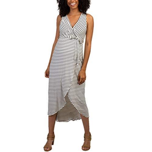 (Sharemen Maternity Bodycon Dress Short Sleeve Ruched Sides Knee Length Shirred Dress (White,M))