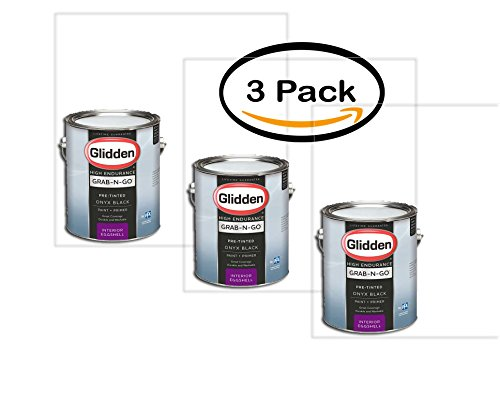 PACK OF 3 - Glidden High Endurance Grab-N-Go, Interior Paint and Primer, Eggshell Finish, Onyx Black, 1 Gallon by Glidden