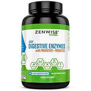 Zenwise Health Digestive Enzymes Plus Prebiotics & Probiotics Supplement, Vegan Formula for Better Digestion & Lactose Absorption with Amylase & Bromelain, 2 Month Supply, 180 Count