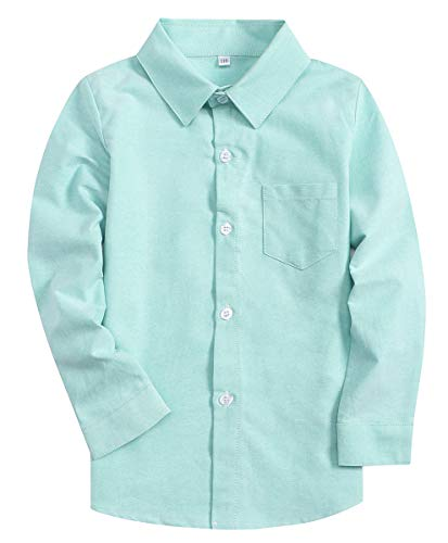 Boys Long Sleeves Button Down Oxford Cotton Dress Shirt Yt900# Green, Tag 150 for 8-9 Years