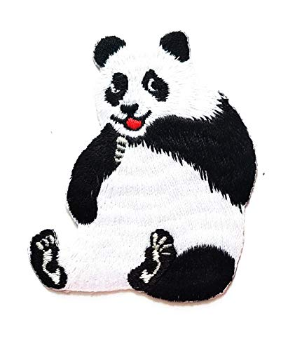 Nipitshop Patches Pretty Panda Bear sit Smile Animal Wild Cartoon Kids Patch Embroidered Iron On Patch for Clothes Backpacks T-Shirt Jeans Skirt Vests Scarf Hat Bag ()