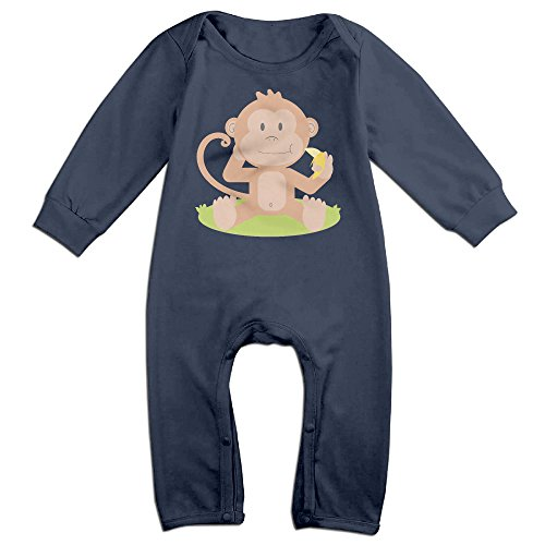 [VanillaBubble Monkey Love Banana For 6-24 Months Baby Cute Long Sleeved Tee Navy Size 18 Months] (Young Elvis Presley Costumes)