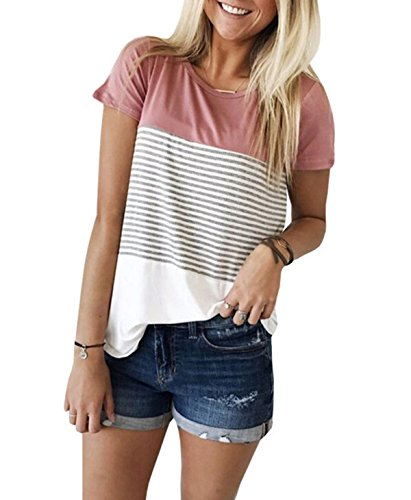 Women's Summer Short Sleeve Striped Junior Blouse Casual Tops T-Shirt (Small, Pink)