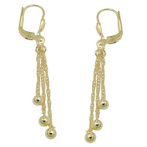 Boucles d'oreilles pendantes Brisur 3Chaînette avec boule en or 333