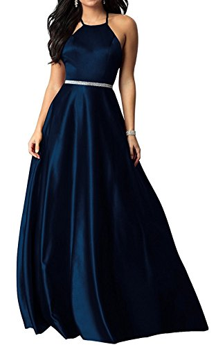 Embellished Satin A-line Dress - Dannifore Royal Blue Halter Cross Strap Beaded Satin Bridesmaid Evening Dress Long Prom Gown Size 18W