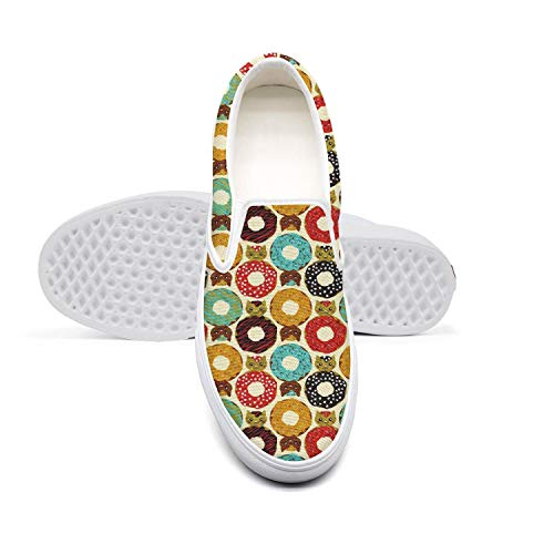 Women Lazy Canvas Slip-On Shoes Donut Cats Dunutcats