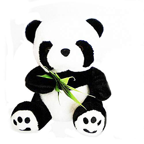 (Gofypel Litlle Plush Panda Cute Sitting Panda Decoration Soft Stuffed Animal Children's Gift with Plastic Green Bamboo 1Pcs)