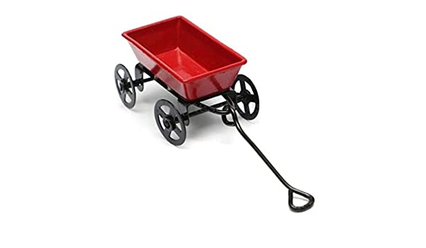 Dollhouse Miniature Metal Red Pull Cart With Wheels 1:12 Scale Fairy Garden ♫