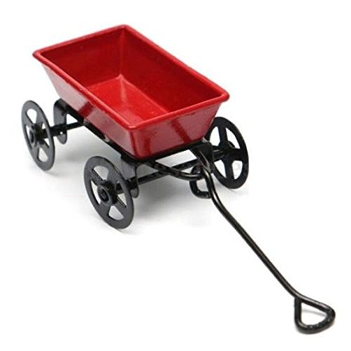 Capri Cabinet Pull (Dollhouse Miniature Metal Red Pull Cart With Wheels 1:12 Scale Fairy Garden ♫)