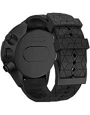 Watches Accessories for Suunto Spartan Sport & Suunto 9/9 Baro / D5 Universal Football Texture Silicone Strap(Red) (Color : Black)