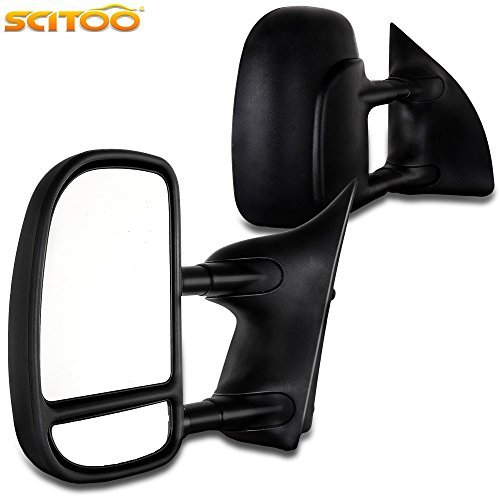 Scitoo Towing Mirrors For 99-07 Ford F250 F350 F450 F550 Super Duty Door Side Mirror Manual Black Telescopic Pair Set Driver and Passenger (2000 01 02 03 04 05 06 Ford Super Duty) Fit 61067-68F ()