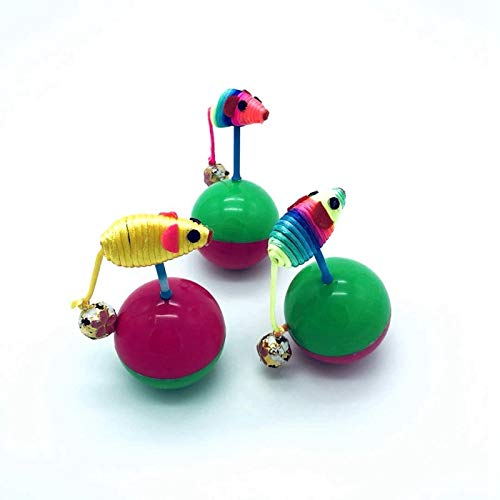 Amazon.com : Best Quality Colorful pet Cats Ball Tumbler y Plush Mouse pet Interactive ys with Bell : Pet Supplies
