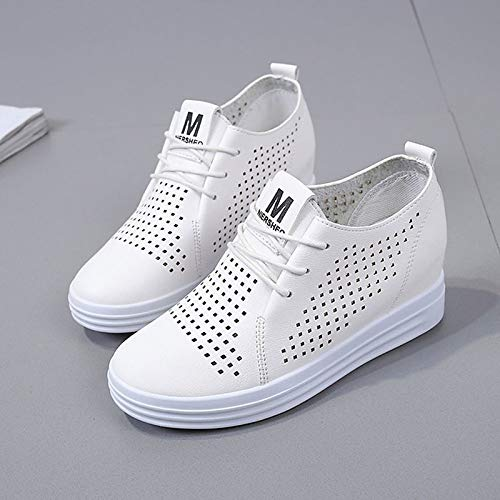 de Toe Heel Negro Summer Poliuretano Lace Blanco Round Flat Mujer White Zapatos PU Up ZHZNVX Sneakers 5xwASp7n