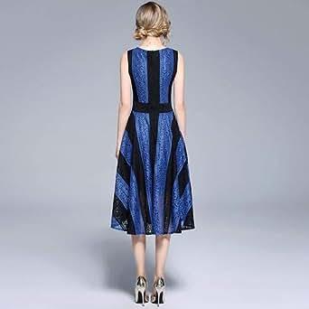 Y&D Summer Women's V-neck lace stitching skirt, sleeveless dress