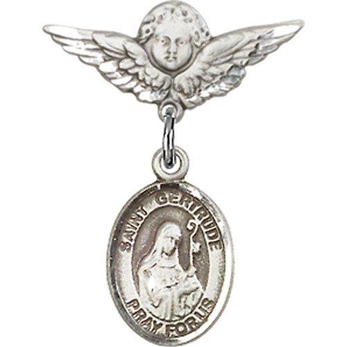 religiousobsessionのスターリングシルバーベビーバッジwith聖ゲルトルートのNivellesチャームand Wingsバッジピン Angel Angel With With Wingsバッジピン B00CDAXFAM, アラオシ:f7063f9c --- ijpba.info